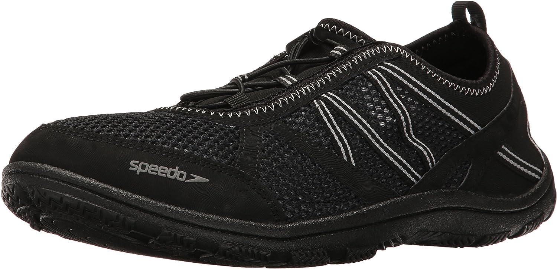 Speedo Men's Seaside LACE 5.0 Athletic Water Shoe, Black, 8 C/D US