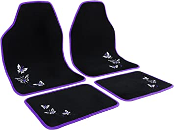 WOLTU AM7140 Universal Non-Slip Carpet Car Floor Mats Set of 4 Pieces Front /& Rear Black with Purple Embroidery Butterfly