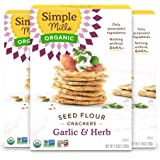 Simple Mills Organic Seed Crackers, Garlic & Herb, Gluten Free, Flax Seed, Sunflower Seeds, Corn Free, Low-Calorie Snacks, Pl