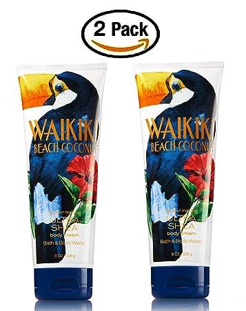 Bath Body Works Waikiki Beach Coconut Ultra Shea Triple Moisture Body Cream — Pair of TWO 2 Ultra Shea Body Creams 8 ounce each