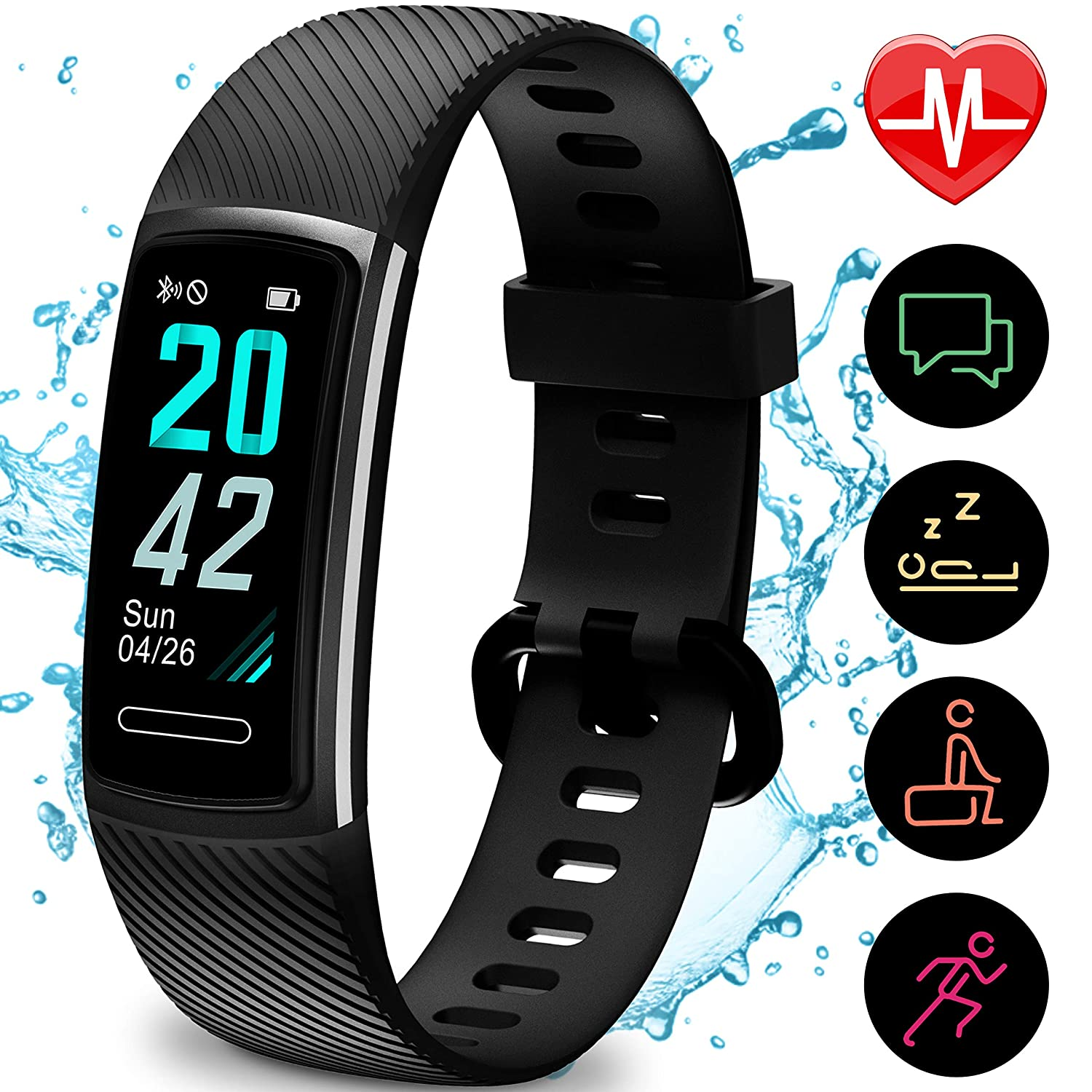 Updated 2019 Version High-End Fitness Tracker HR, Activity Trackers Health Exercise Watch with Heart Rate and Sleep Monitor, Smart Band Calorie Counter, Step Counter, Pedometer Walking for Men Women