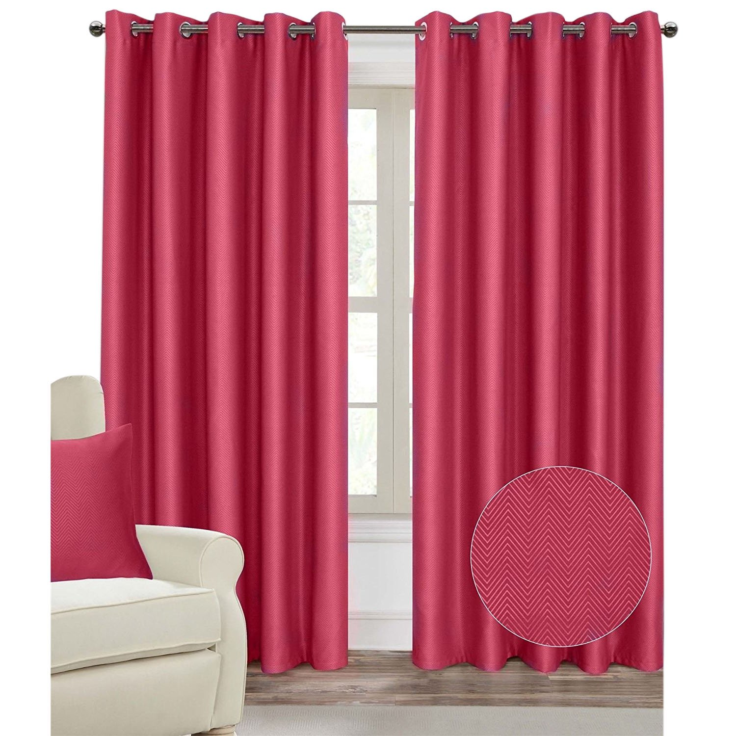 Homescapes Cream Eyelet Ring Top Blackout Thermal Curtain Pair Width 117cm (46