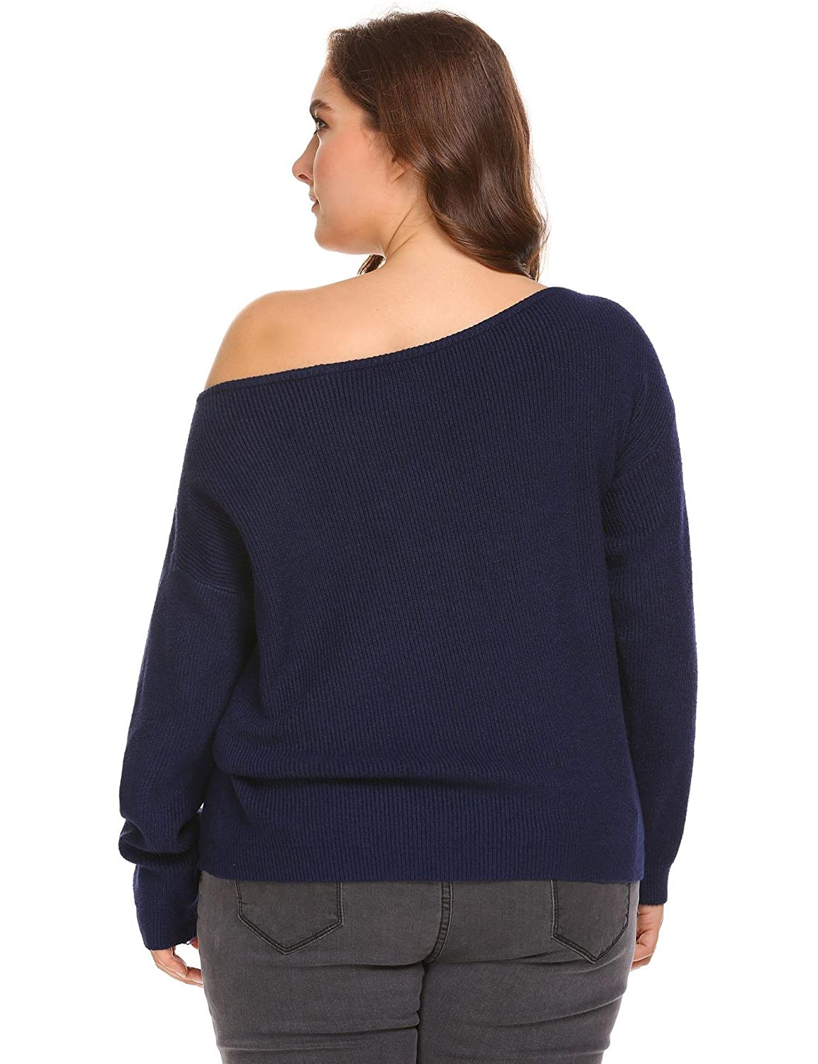 2017fecececd VPICUO Womens Plus Size Sweater Cold Shoulder Knit Tops Sexy Off Shoulder  Slouchy Oversized Pullover Sweaters at Amazon Women s Clothing store