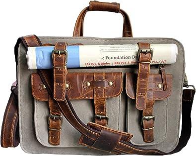 Leather Messenger Bag Computer Brown Laptop Briefcase Men/'s /& Women/'s Satchel