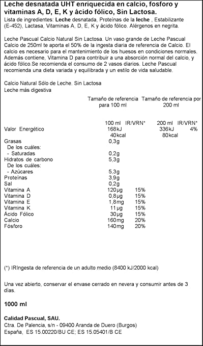 Pascual Leche Calcio sin Lactosa Desnatada - 1000 ml: Amazon.es: Amazon Pantry