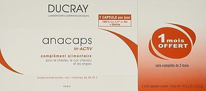 Ducray Anacaps Reactiv Cabello y Uñas, 3 x 30 Capsulas