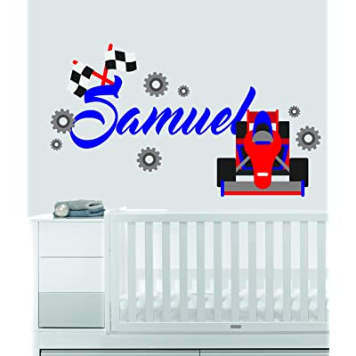"Custom Name Transportation Theme - F1 Racecar - Baby Boy / Girl - Wall Decal Nursery For Home Bedroom Children (559) (Wide 22"" x 12"" Height): Baby"
