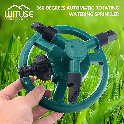 Aspersor automático para césped de jardín, cobertura del sistema de riego de 360 ° de rotación: Amazon.es: Jardín