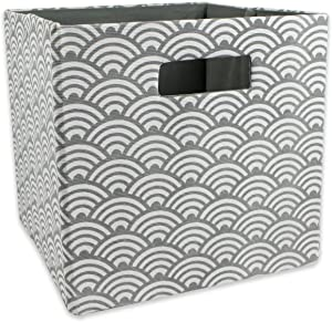 "DII Hard Sided Collapsible Fabric Storage Container for Nursery, Offices, & Home Organization, (11x11x11"") - Waves Gray"