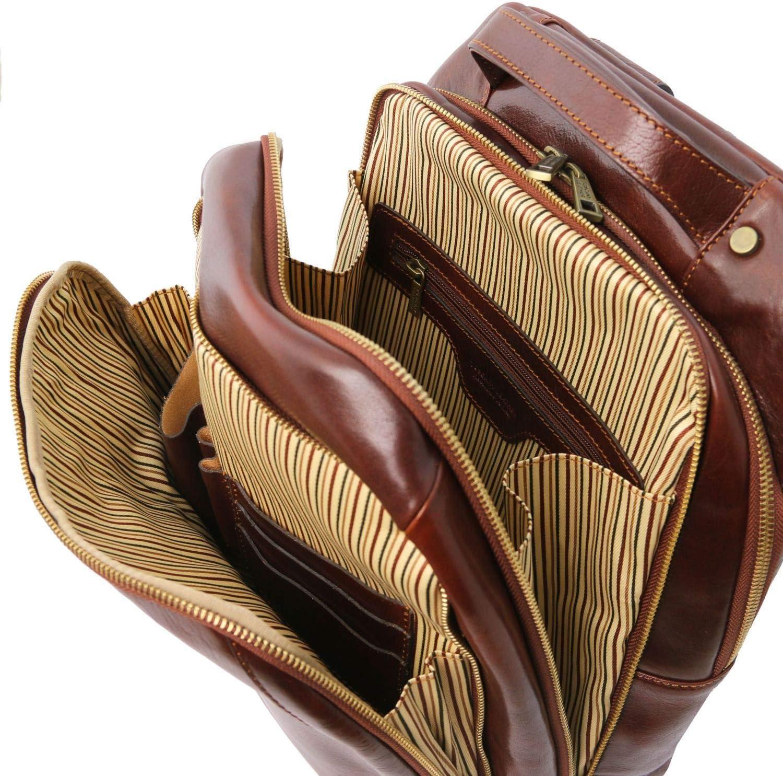 Tuscany Leather Phuket Sac à Dos en Cuir Porte Ordinateur avec 3 Compartiments Miel Marron