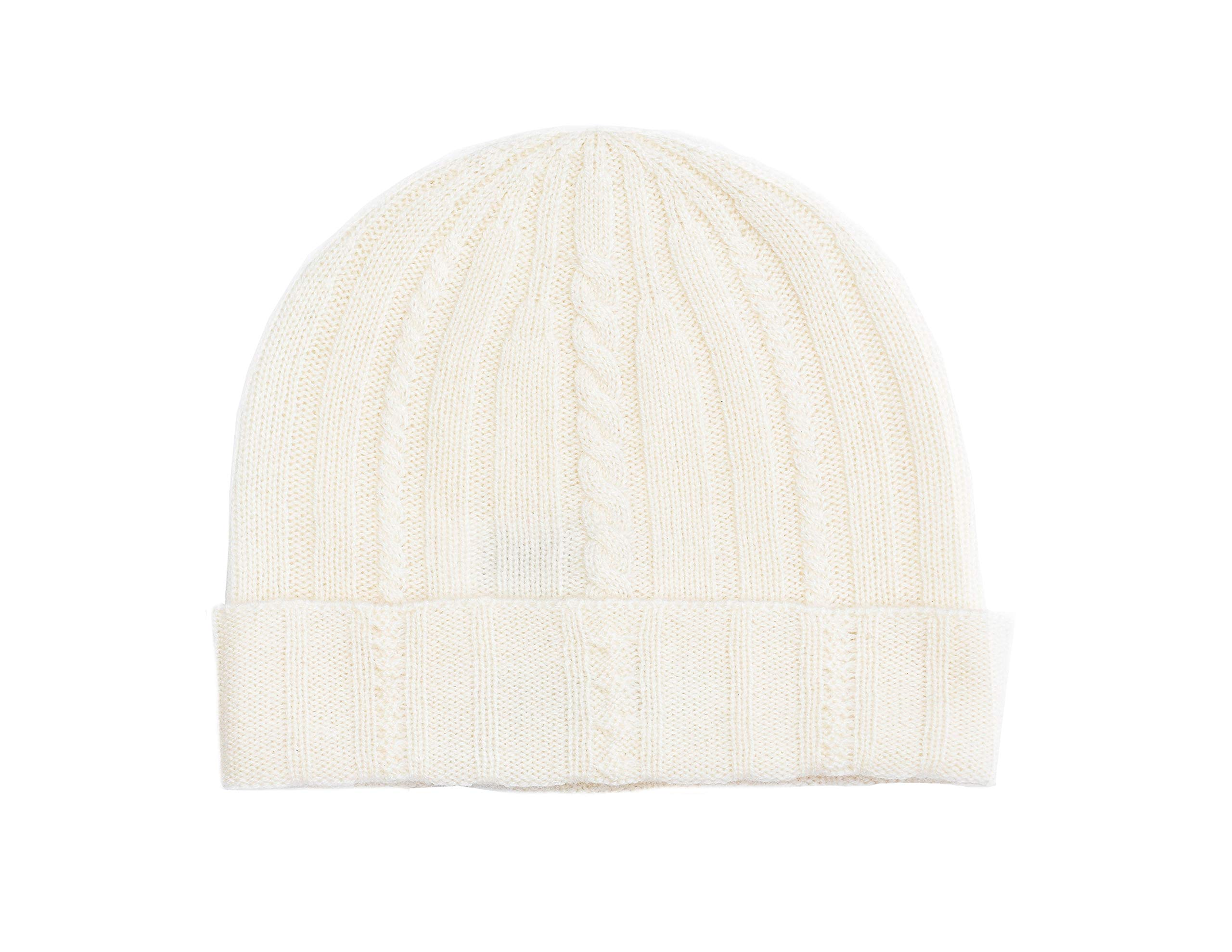 State Cashmere Cable Knit Cuffed Beanie 100% Pure Cashmere Foldover Hat•Ultimately Soft and Warm (Ivory) by State Cashmere