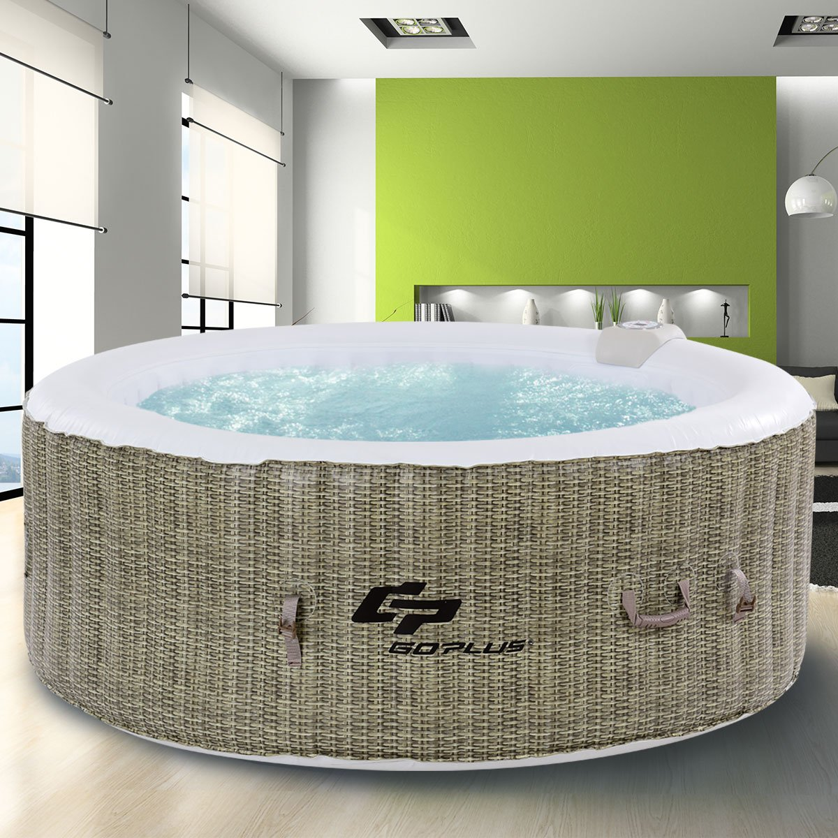 Goplus 6 Person Inflatable Hot Tub for Portable Outdoor Jets Bubble Massage Spa Relaxing w/Accessories (Coffee) by Goplus (Image #4)