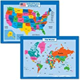 Palace Curriculum World Map and USA Map for Kids - 2 Poster Set - Laminated - Wall Chart Poster of The United States and The