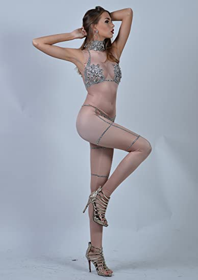 2d705c51275 Amazon.com  Charismatico Silver Nude Crystallised 3D Print Sexy Cleavage  Naked Showgirl G-String Romper Catsuit Jumpsuit US0-US6  Clothing