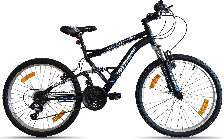 Vélo Bicicleta de montaña de 24 Pulgadas con suspensión Completa AcTIMOVER 18 V Shimano – Manillas GripshIFT Shimano – Potencia Headset