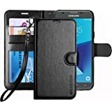 Galaxy J7 V / J7 Perx / J7 Sky Pro / J7 Prime / J7 2017 / Galaxy Halo Case , ERAGLOW Luxury PU Leather Wallet Flip Protective Case Cover with Card Slots and Stand for Samsung Galaxy J7 2017 (Black)
