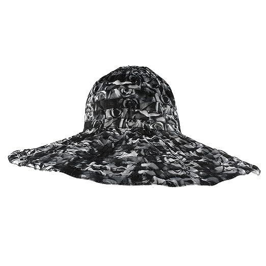 Morehats Rose Flower Patterned Wide Brim Sun Beach Packable Hat - Black 73ae6472c090