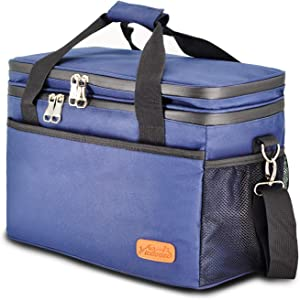 Viedouce Soft Insulated Cooler Bag for Lunch Portable Collapsible Cooler for Grocery Shopping Picnic Camping Tailgating 18L, Blue