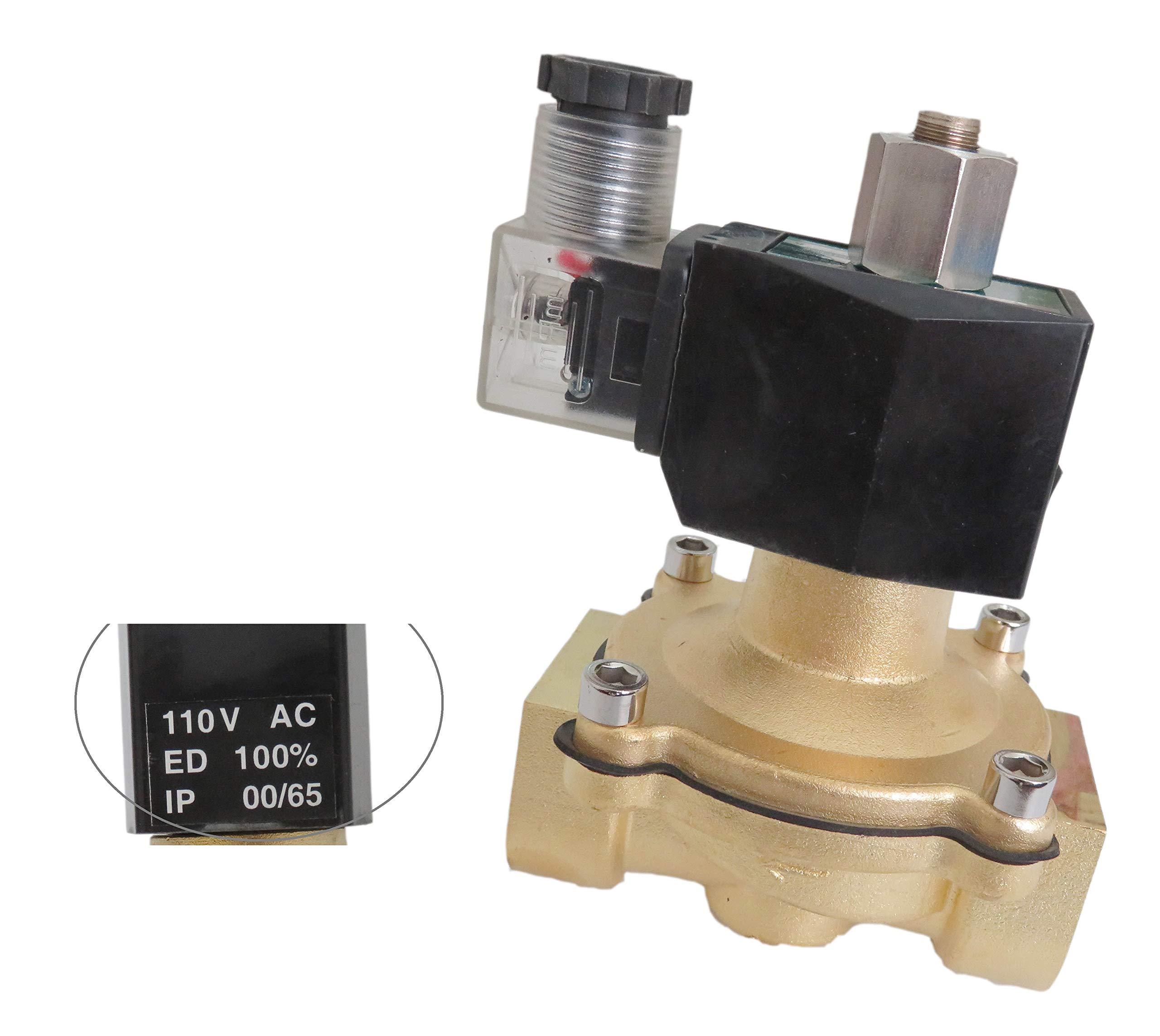 1 Inch Normally Open 110V-120V AC VAC Brass Solenoid Valve NPT