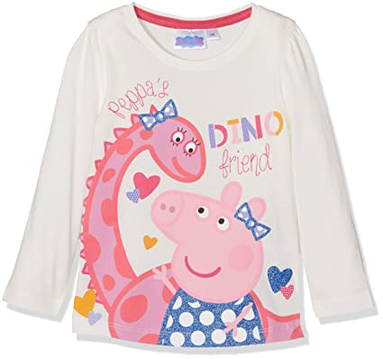 fa7d67cf Peppa Pig Girl's Peppa Dino Friend T-Shirt, White (Offwhite), 7-8 (Size: 8  Years): Amazon.co.uk: Clothing