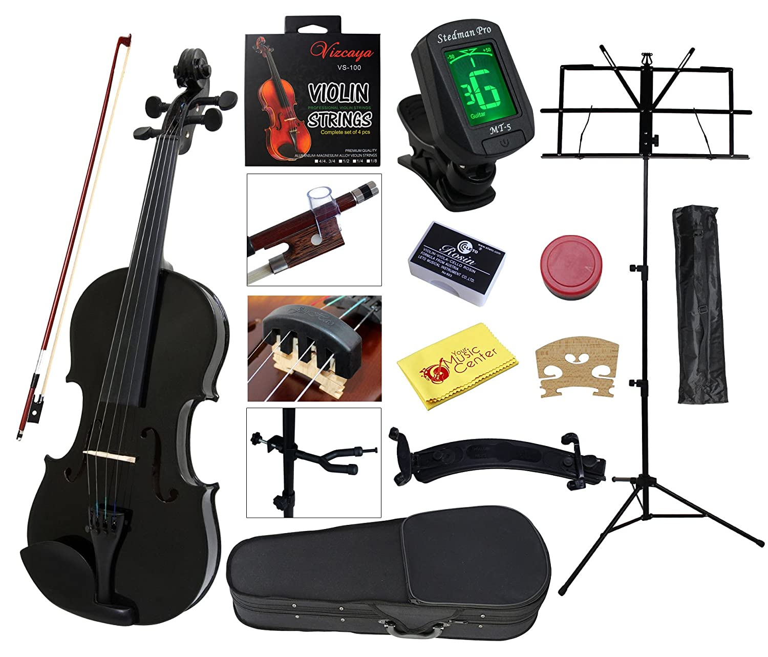 Amazon.com: YMC Full Size 4/4 Violin Starter Kit with Hard  Case,Bow,Rosin,Extra Strings,Shoulder Rest,Mute,Electronic  Tuner,Pinkinest,Polish cloth,Violin ...