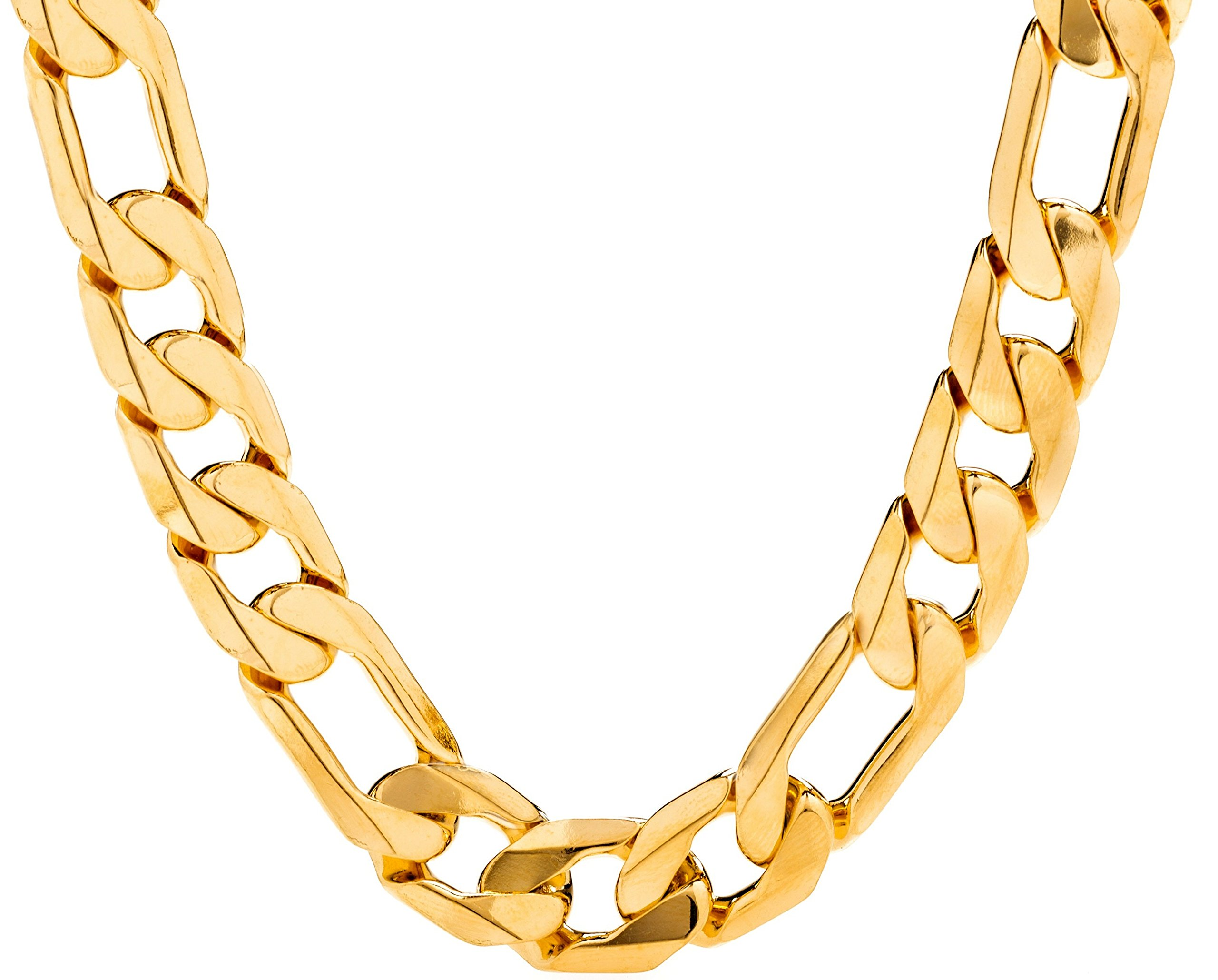 Lifetime Jewelry Figaro Chain 11MM, 24K Gold Over Semi-Precious Metals, Premium Fashion Jewelry, Hip Hop, Comes in a Box or Pouch for Gifts, Guaranteed for Life, Long, 30 Inches