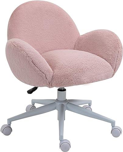 HOMCOM Faux Fur Leisure Office Swivel Chair