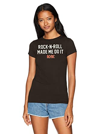 e7c2b60bf52 AC DC ACDC Women s Rock N Roll Made Me Do It Crew Neck Graphic T-Shirt at  Amazon Women s Clothing store