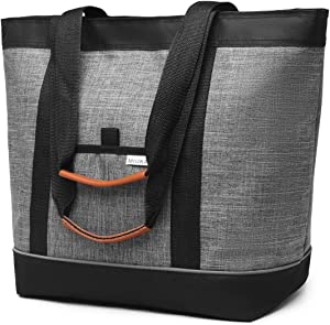 Large Insulated Cooler Bag Gray with Thermal Foam Insulation Reusable Grocery Bag Transport Cold Or Hot Food Apply to Delivery Bag, Travel Cooler, or Picnic Cooler.lunch bag lunch box