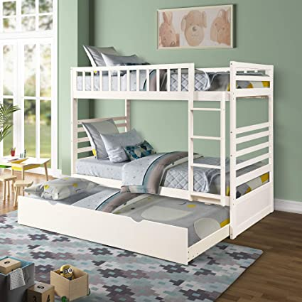 Merax Bunk Beds For Kids Twin Over Bunk Bed With Ladder Solid Wood Trundle Bed With Safety Rail Pure White Amazon In Home Kitchen