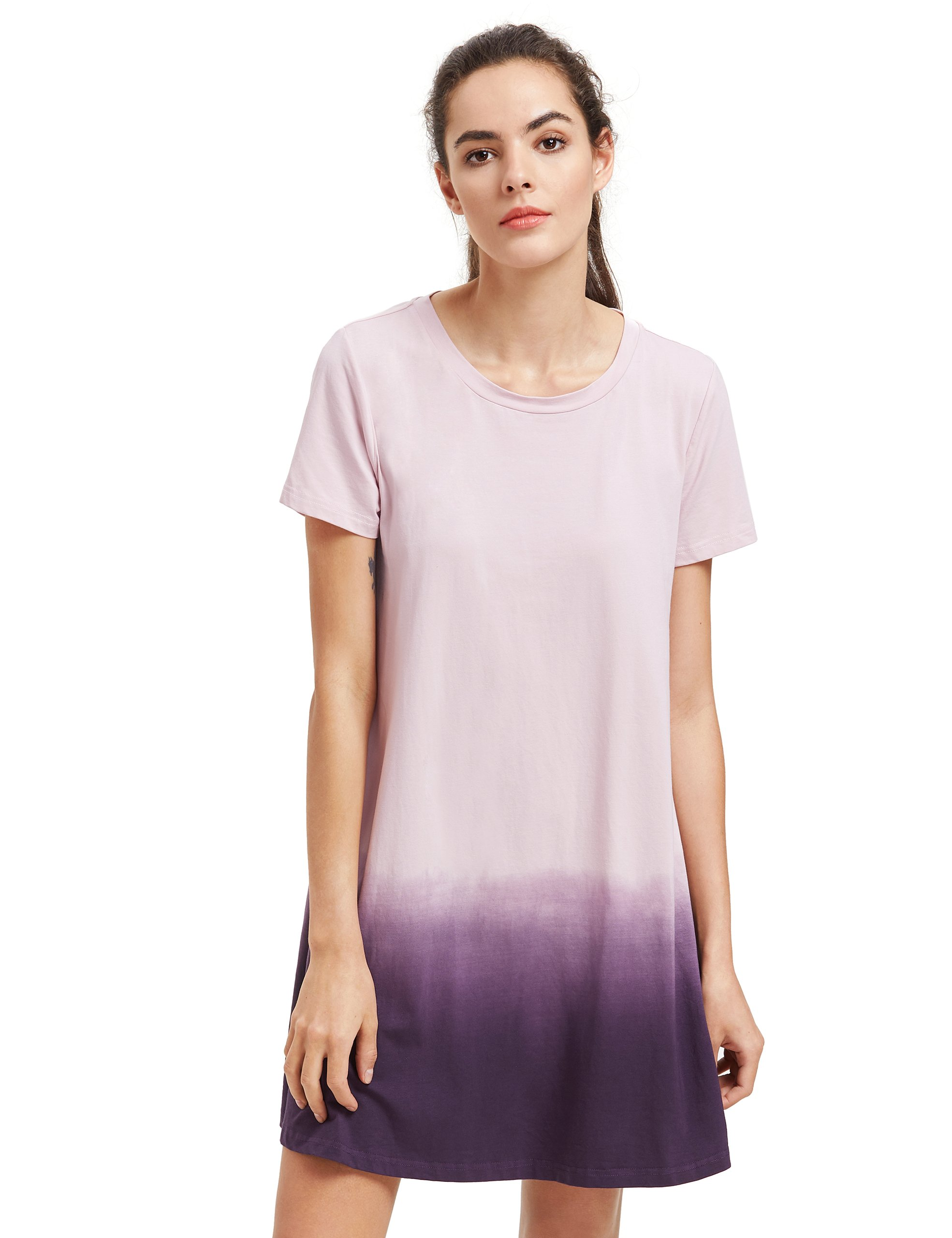 Romwe Women's Tunic Swing T-Shirt Dress Short Sleeve Tie Dye Ombre Dress Lilac L