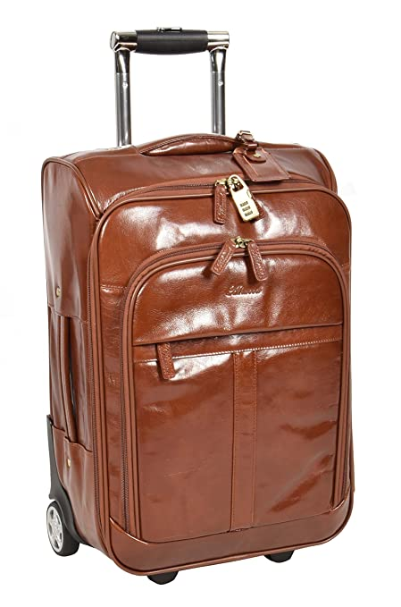 7c0b336eb Amazon.com | Real Leather Cabin Travel Suitcase Wheeled Trolley Weekend Bag  Chestnut A0518 | Suitcases