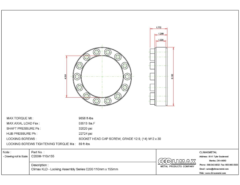 1.85 Width Climax Metals C200M-110X155 Series 200 Locking Assembly 4.33 ID Steel 110 mm Shaft Diameter