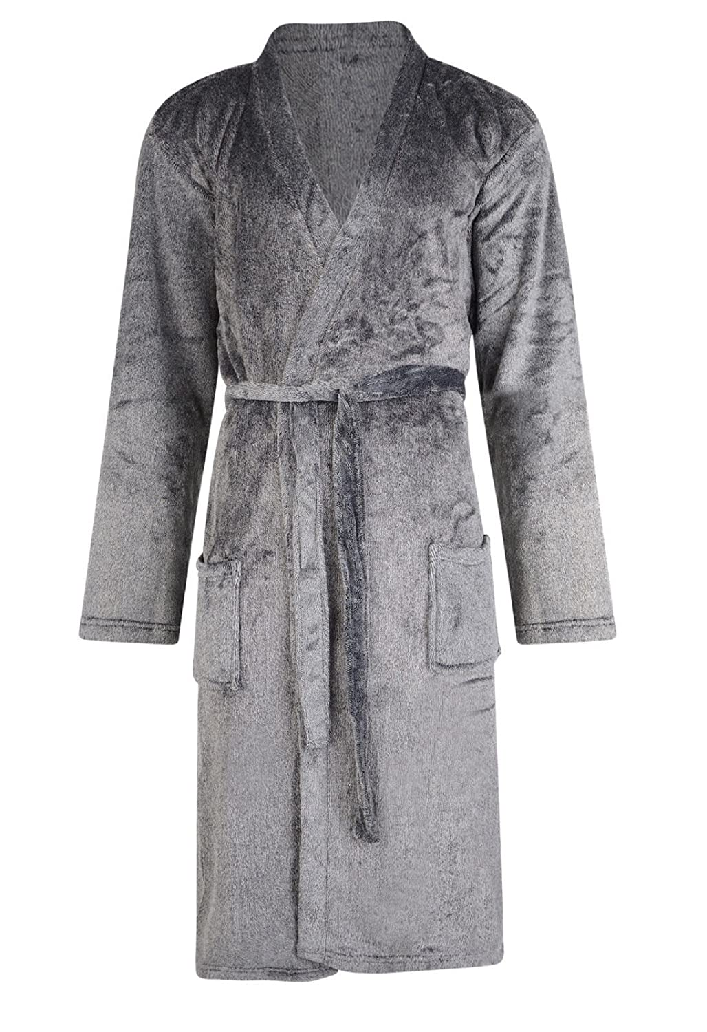 MENS DRESSING GOWN KIMONO BATH ROBE CHARCOAL GREY EX STORE