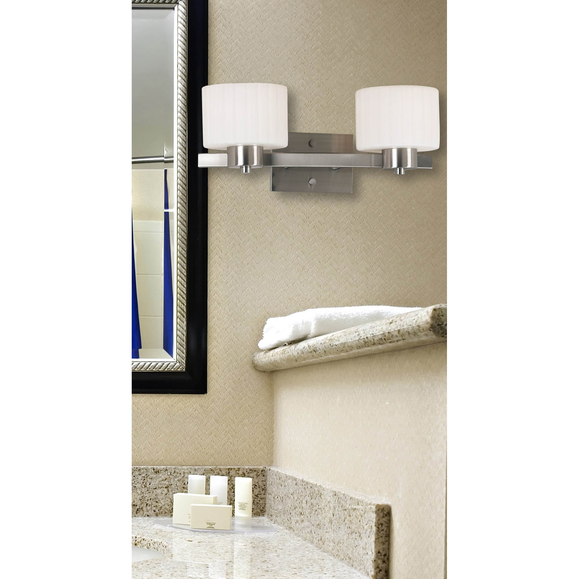 Kenroy Home 80412BS Legacy Two-Light Vanity Light with 6-Inch fluted Glass Shade