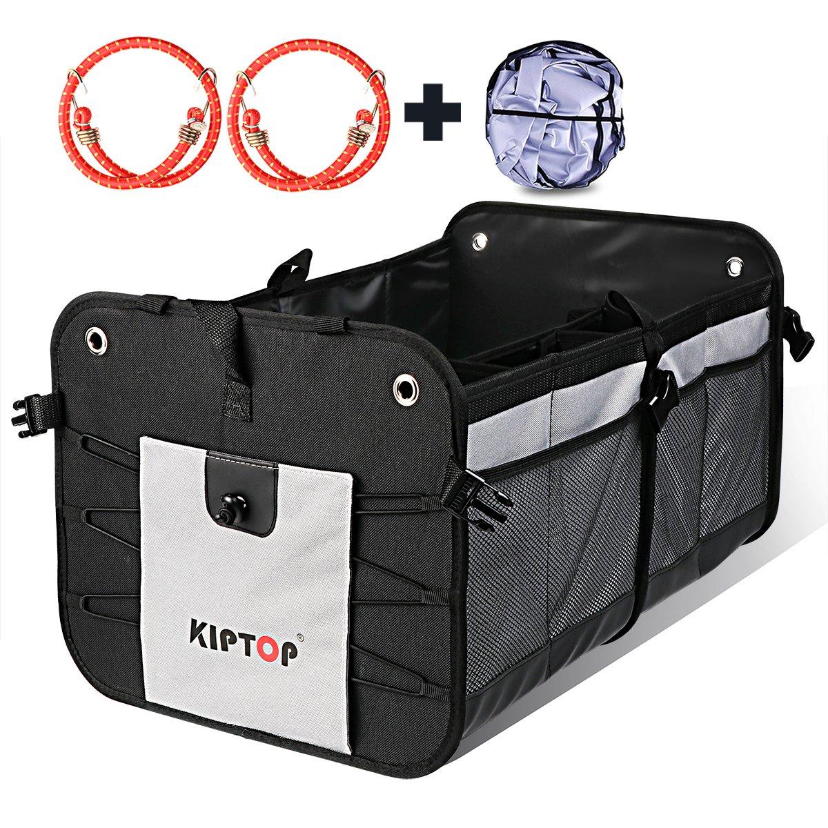 KIPTOP Bagagliaio Organizer Pieghevole,Scatola di Immagazzinaggio, organizzatore auto Bagagliaio auto Cargo Bag Car bagagli, sacchetto di immondizia sacchetti della spesa (Blu) SL001-bla