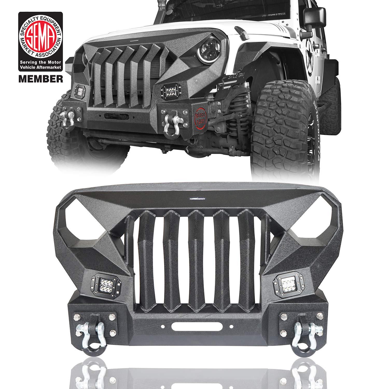 Jeep Wrangler Jk Front Bumper >> Jeep Mad Max Front Bumper W Steel Grille 2x 18w Led Spotlights 07 18 Jeep Wrangler Jk