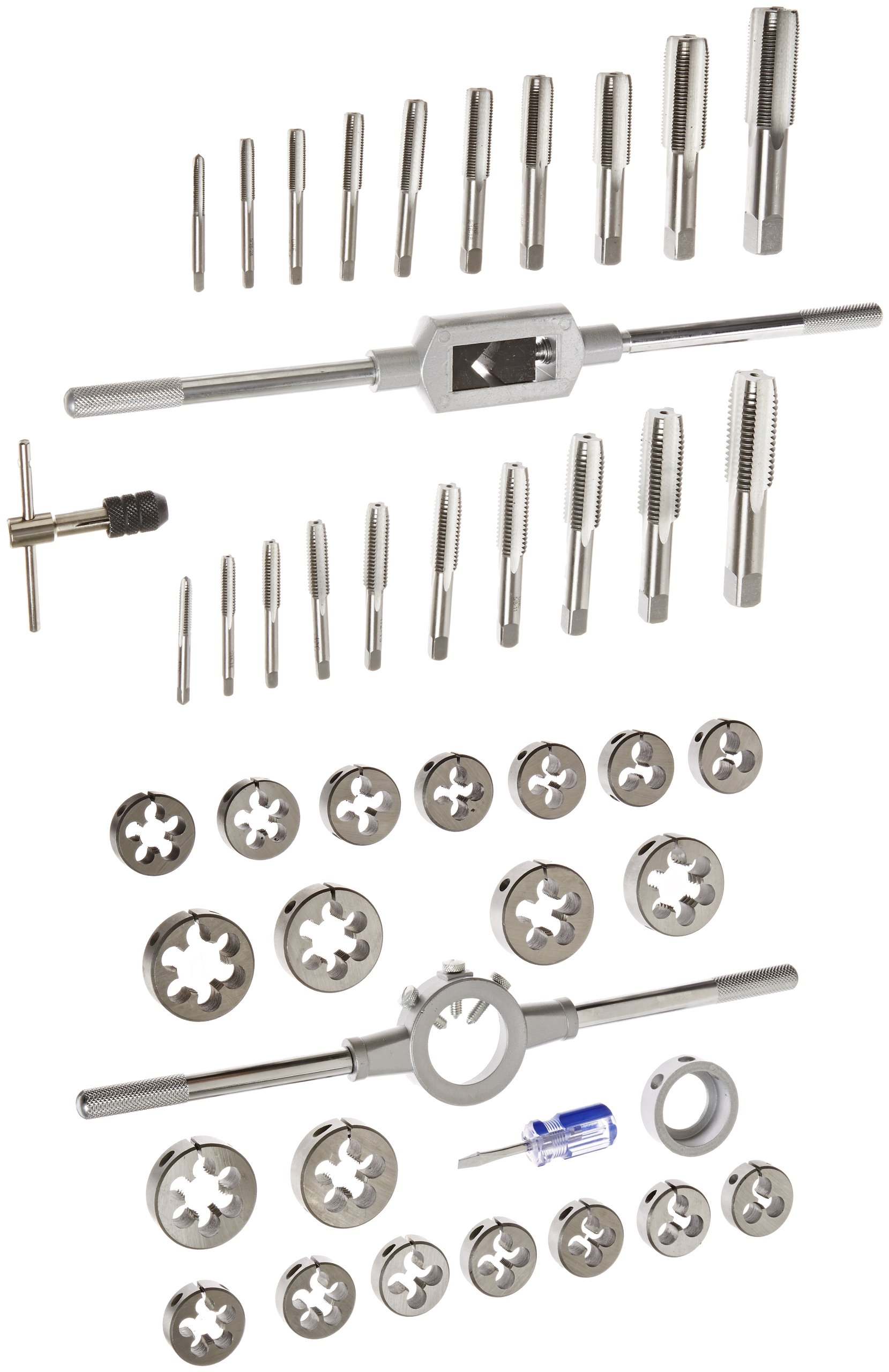 Drill America 45 Piece Carbon Steel Tap and Die Set (1/4'' - 1'', NC and NF), DWT Series by Drill America