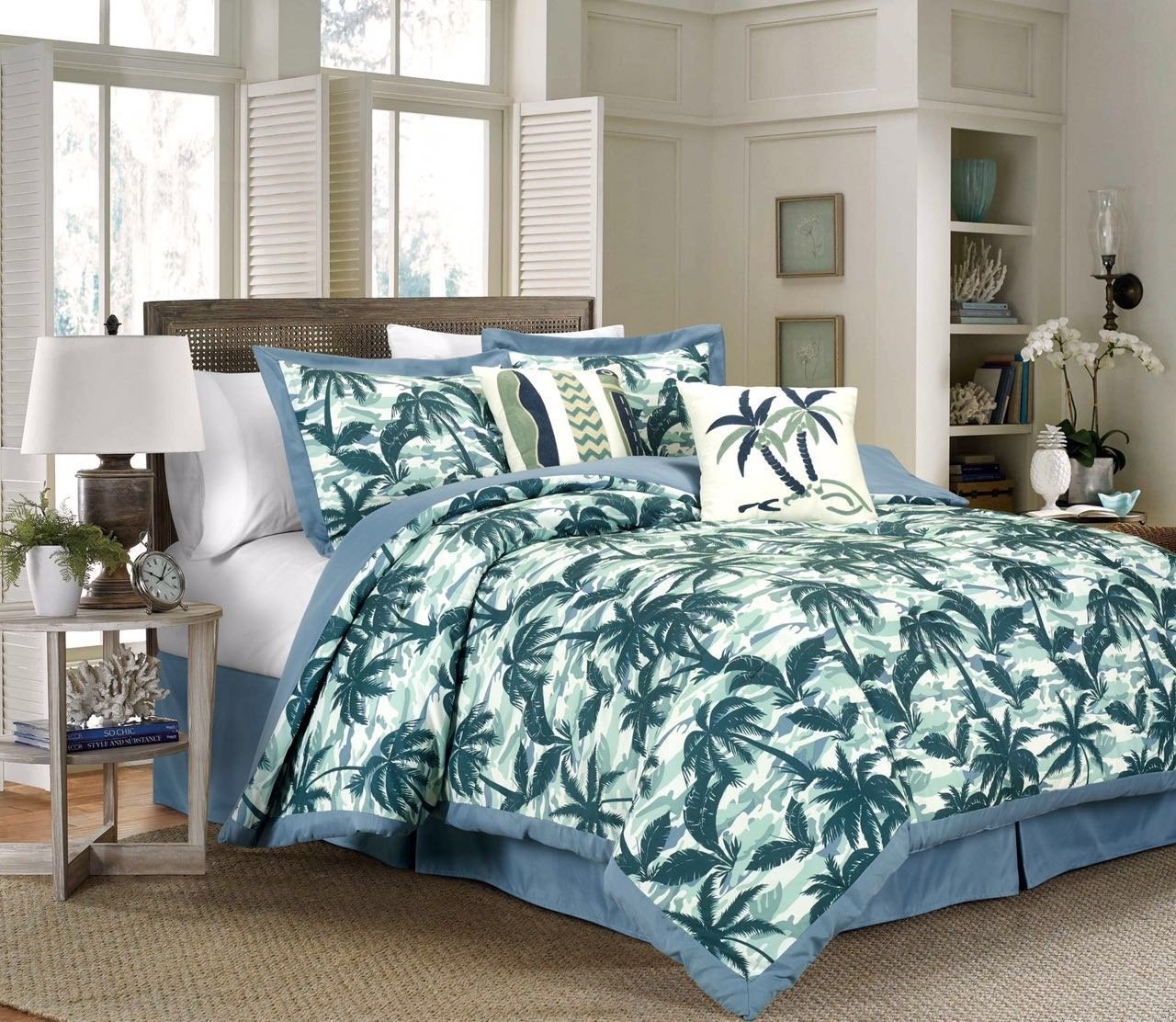 Chezmoi Collection Kona 6-Piece Tropical Palm Tree Surfboards Camouflage Bedding Comforter Set Queen, Blue