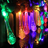 T-SUN 30 LED Solar String Lights, Water Drop Shaped Fairy String Light Christmas Light, Multi-Color Indoor Outdoor Landscape Decorative Lights for Garden, Wall, Yard, Tree, Camping, Party, Home