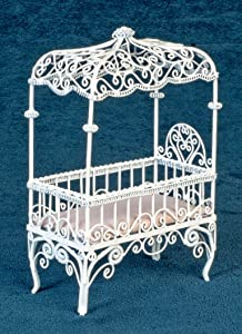 Dollhouse Miniature White Wire Canopy Crib
