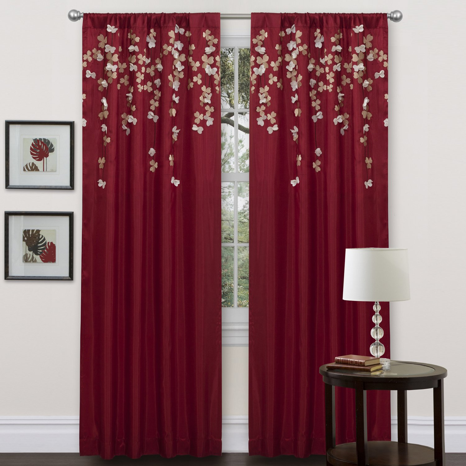Red patterned curtains living room - Amazon Com Lush Decor Flower Drop 84 X 42 Inches Curtain Panel Red Home Kitchen