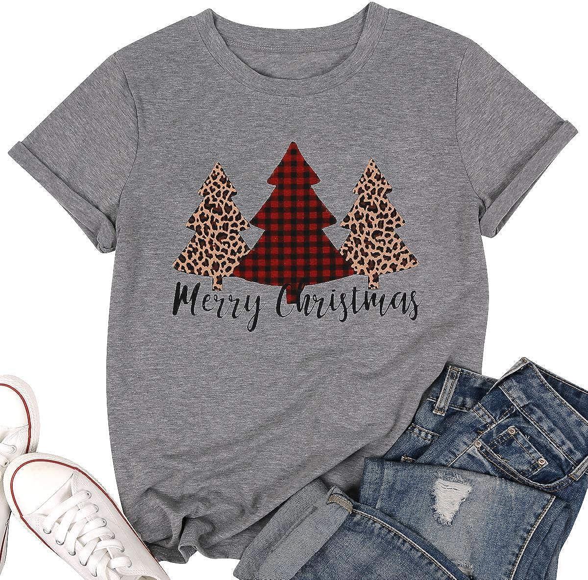 Merry Christmas Tree Print T-Shirt Women Leopard Plaid Casual Short Sleeve Tee Tops Blouse