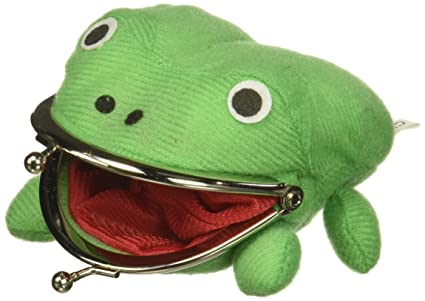 AWG Green Frog Gama-chan Wallet Coin Purse Pouch | Cute Anime Funny Cosplay Plush (Green)