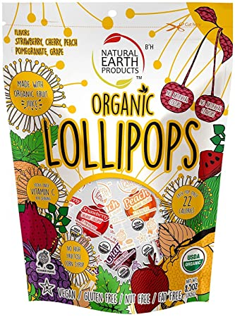 Organic Lollipops Assorted Flavors, 8 5 Ounce