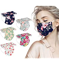 50PC Flower Disposable Face_Masks for Women, 3-Ply Colorful Floral Breathable Face_Mask with Nose Wire for Glasses…