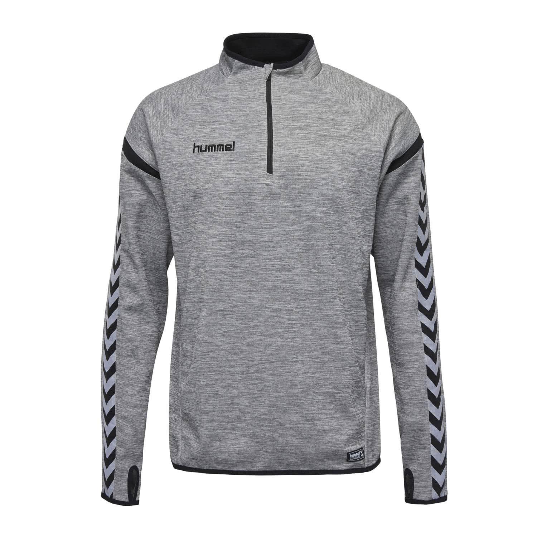 Hummel Sweater Herren – AUTHENTIC CHARGE TRAINING SWEAT – Trainingspullover Herren langarm – Longsleeve mit Kragen & 1 2 Zipper – Langarmshirt Grau o. Rot