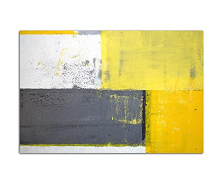 120 x 80 cm - Grey/Yellow Abstract Canvas Wall Picture Malkunst Art ...
