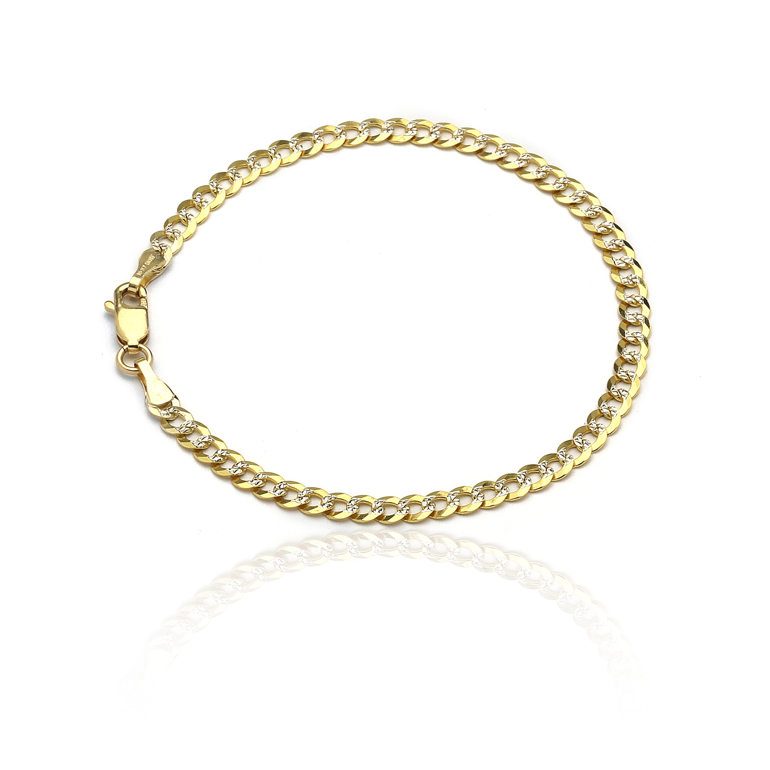 10 Inch 10k Two-Tone Gold Curb Cuban Chain Ankle Bracelet Anklet with White Pave, 0.16 Inch (4mm)