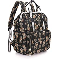 Pipi bear Nappy Changing Bag, Multi-Functional Waterproof Travel Diaper Bag Backpack for Mom and Dad (Black)